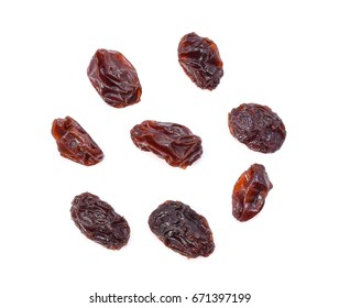Top view of Dried raisins isolated on white background