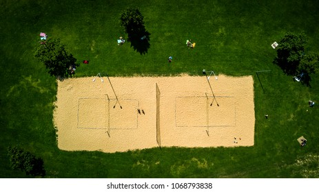 Top view from drone on the volleyball field and people playing this game. Riga, Latvia.