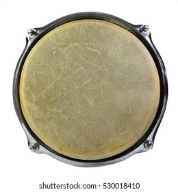 Top view of drum leather with frame isolated on white background. Drum head