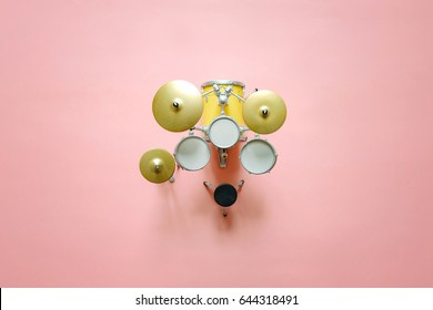 Top view of drums set music background concept, Music festival advertising