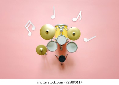 Top view of drums set with notes music background concept, Music festival advertising