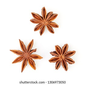 Top view of dry star anise fruit and seeds isolated on white background