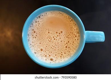 Top view Earl Grey milk tea