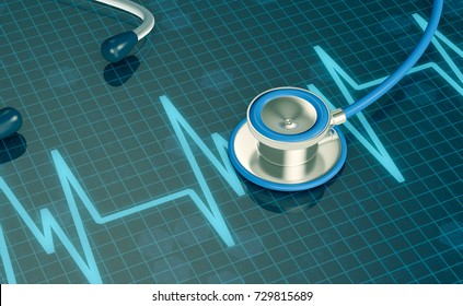top view of an ecg display with a stethoscope, concept of heart health (3d render)