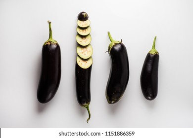 Top view of eggplants on white background