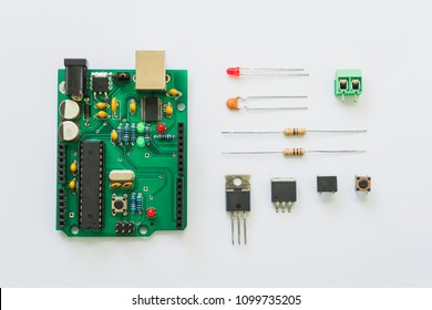 Top view of electronics component such as PCB board, resistor, ICs, capacitor, switch, and connector.