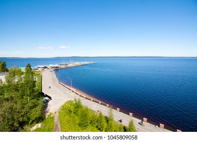 The top view to embankment of Onego lake in Petrozavodsk, Karelia, Russia