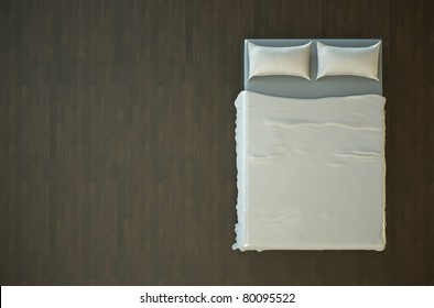 top view of an empty bed with white bedding 3d render top45 white