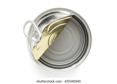 top view of empty canned on white background