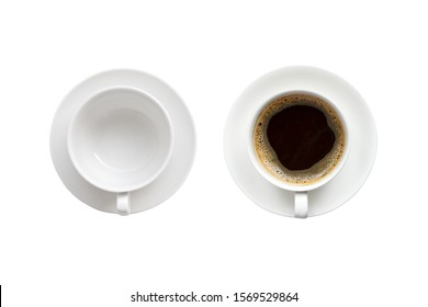 Top view of empty coffee cup and cup of hot espresso isolated on white background