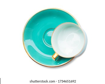 Top view of empty coffee cup or ceramic tea cup on saucer dish isolated on white background with clipping path.