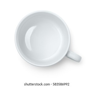 Top view of empty coffee cup isolated on white