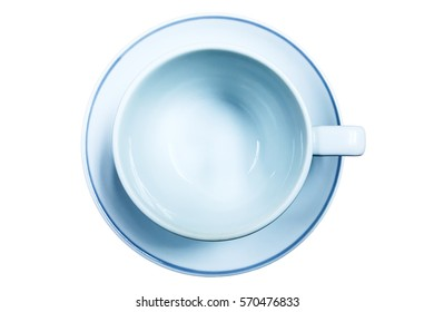 Top view of empty cup on the white background