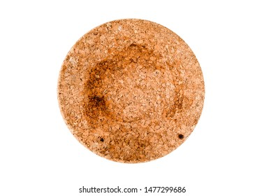 Top view empty dirty round cork stand under the hot isolated on a white background and clipping path. Item nesscessairy in kitchen