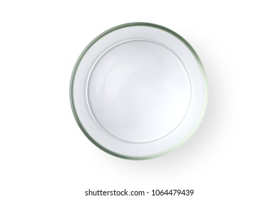 Top view of empty glass jar isolated on white background