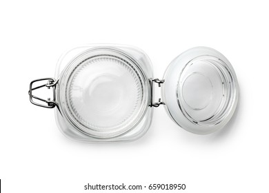 Top view of empty glass jar on a white background