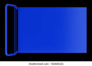 top view of empty large market service cart isolated on black background. 3d illustration
