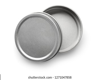 Top view of empty metal round container isolated on white