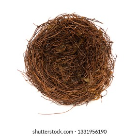 top view empty nest on white background