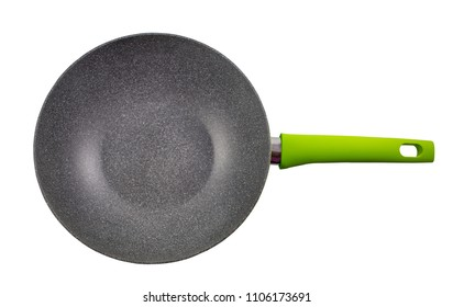 Top view, empty new frying pan, Ceramic frying pan with green handle isolated on white background with clipping path