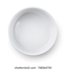 Top view of empty round  baking dish isolated on white
