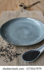 Top view of empty rustic grey plates