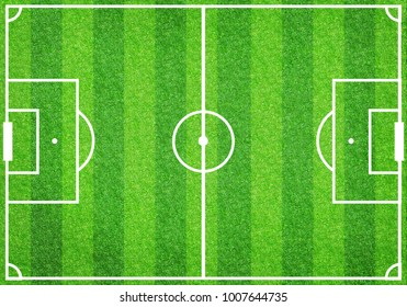 Top view of empty soccer football lined grass field, empty copy space background