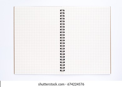 Top view of Empty spiral notebook for schedule or to-do list with grid pages