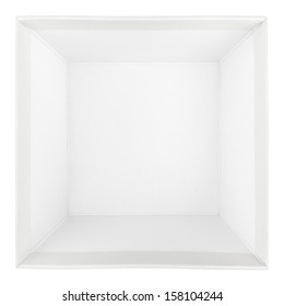 Top view of empty square box isolated on white with clipping path