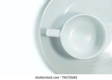 Top view empty white mug isolated on white background.