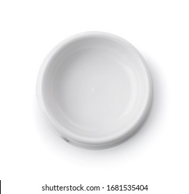 Top view of empty white plastic pets bowl isolated on white