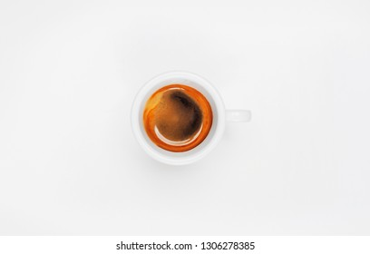 Top View of Espresso Coffee Cup on White Background.