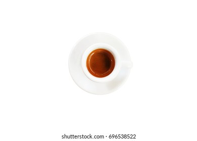 Top view of espresso coffee cup, white background