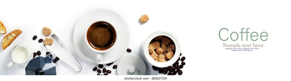 Top view of Espresso coffee, milk and sugar on white. Background with space for text