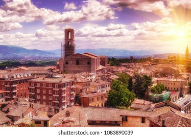 Top view of European city  at sunset. Travel and holidays concept