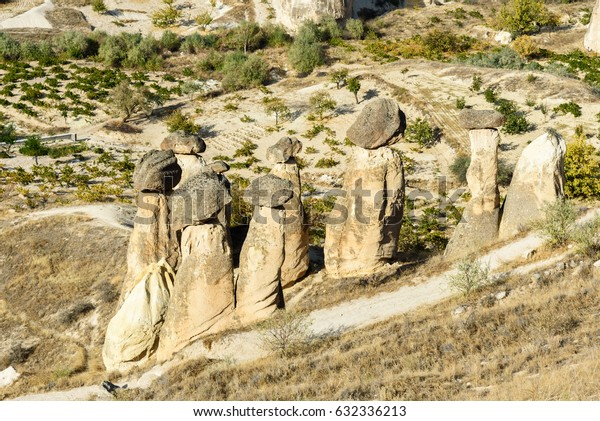 Top view of Fairy Chimneys. Cavusin. Cappadocia. Nevsehir Province. Turkey