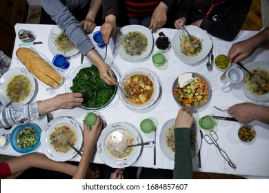 Top view of family dinner gathering