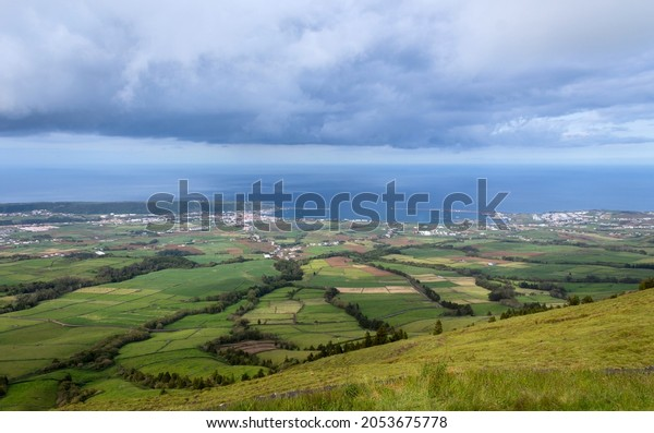 Top view of farm fields in the Terceira island in Azores, Portugal