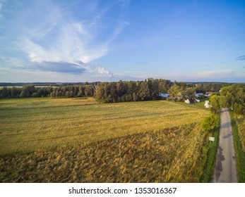 top view of farmland in Poland
