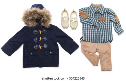Top view fashion trendy look of kids clothes. Kids fashion