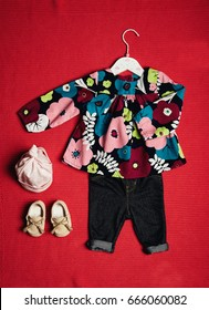 top view fashion trendy look of baby girl clothes