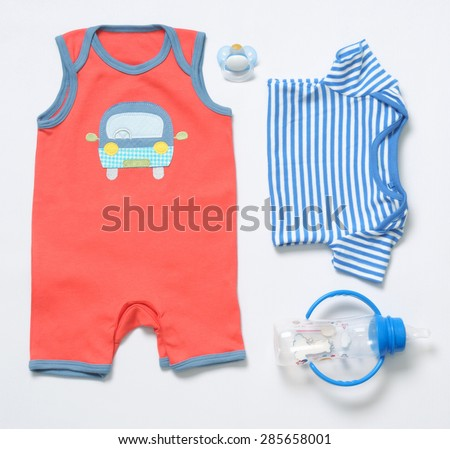 b5e66ef4b36 Top View Fashion Trendy Look Baby Stock Photo (Edit Now) 285658001 ...