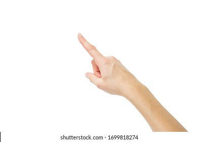 Top view: female hand with clean healthy skin on a white isolated background showing gestures with the fingers. Soft focus, shallow depth of field. Gesture indication, countdown first. Direction. Up.