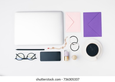 top view of female workplace supplies composition