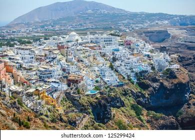 Top view Fira, Main Town of Santorini island, Greece