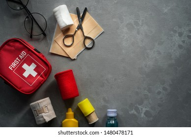Top view of first aid kit bag