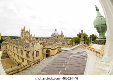 The top view with fish eye lens of Oxford university areas. Photos are taken with fish eye lens on 20 September 2016 at Oxford, England.