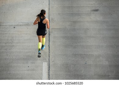 Top view of fitness female running morning with copy space