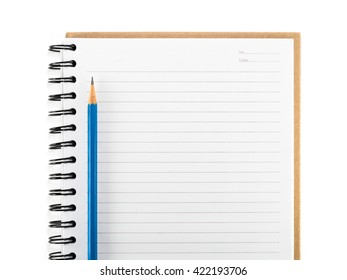 Top view (flat lay) blue pencil on blank notebook isolate on white background