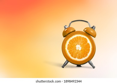 top view flat lay creative art collage alarm clock and orange copy space